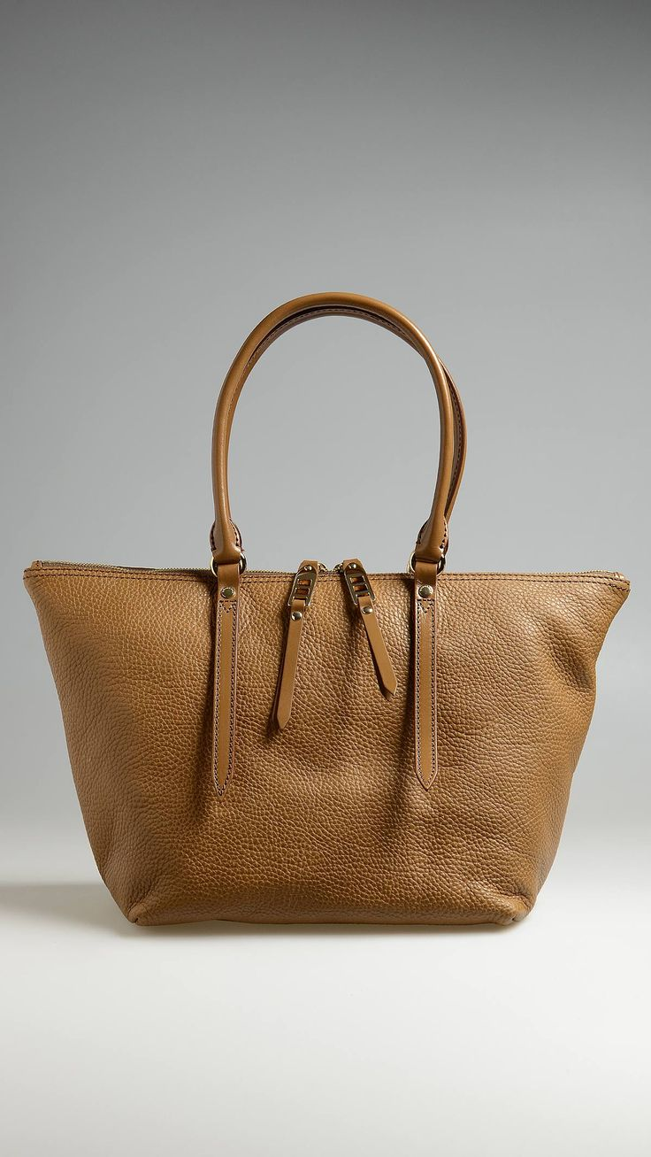 Camel grainy leather tote bag, smooth leather trim, zip closure, rolled handles, three inside pockets, check lining, patent metal detail, 10.2 x 9.9 x 6.3 inch - 26 x 25 x 16.5 cm.