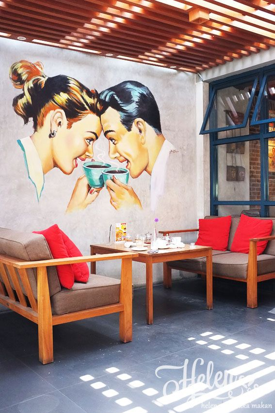 Ryan Hattas Public Murals Classic Vintage Fun Coffee Mural Cafe Coffee Wall Art Graffiti Cafe