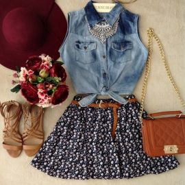 jeans shirt and skirt - camisa jeans e saia