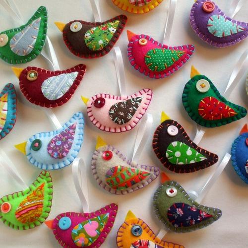 Embroidery Bird Ornaments Eco Felt & Vintage Fabric <3