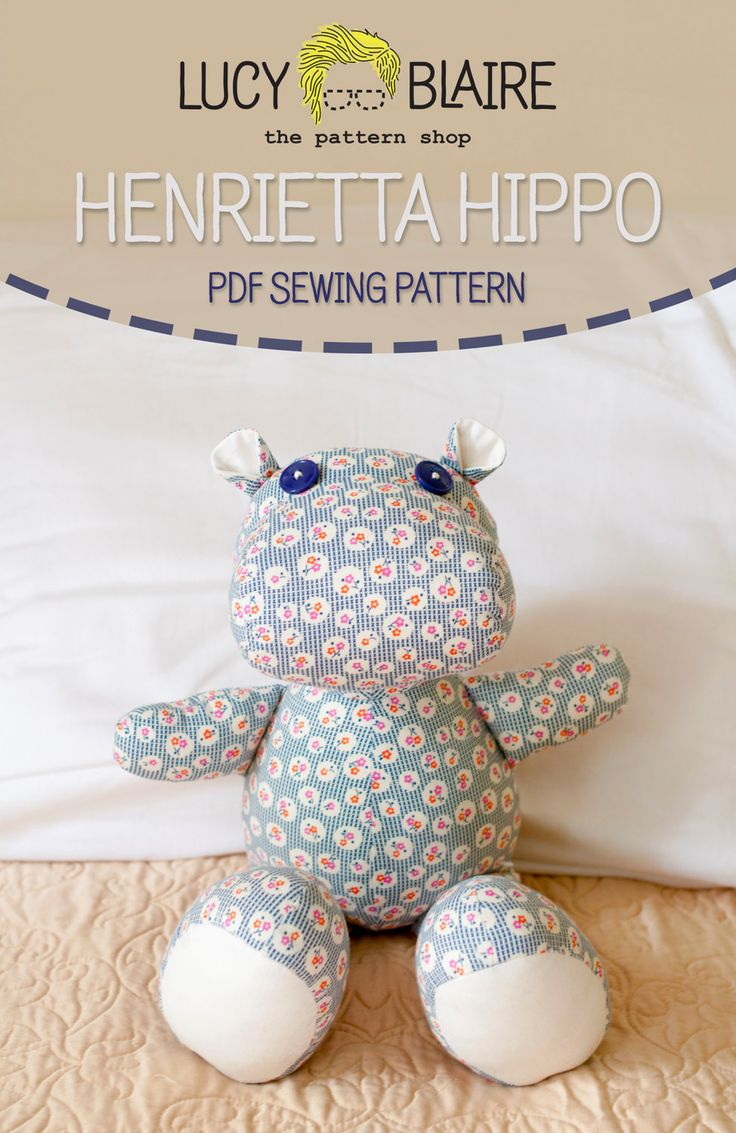 Henrietta hippo stuffed animal sewing pattern sew many for Sewing templates for stuffed animals