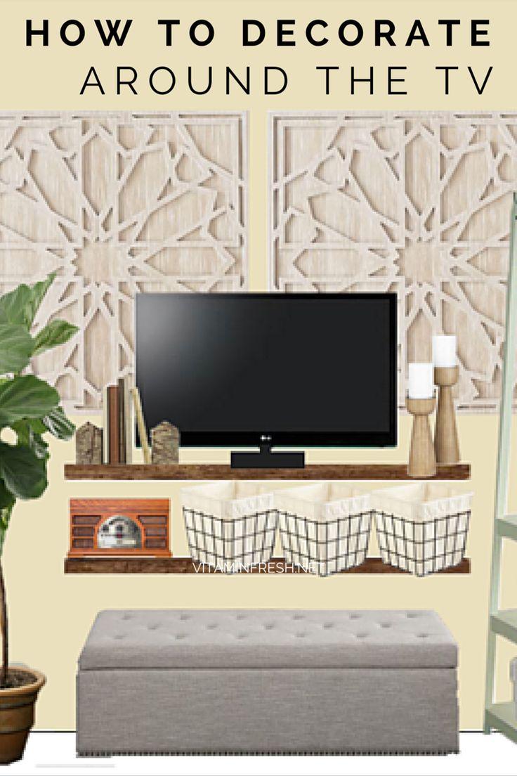 Creative ways to decorate around the TV.