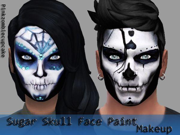 Sugar skull face paint at Pink Zombie Cupcake via Sims 4 Updates