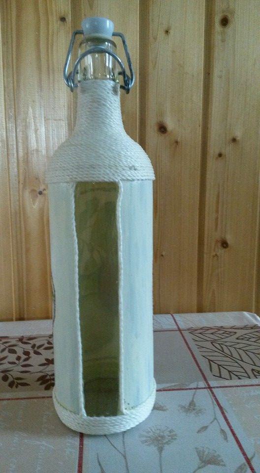 Csatos üveg, szalvéta technikával bevonva