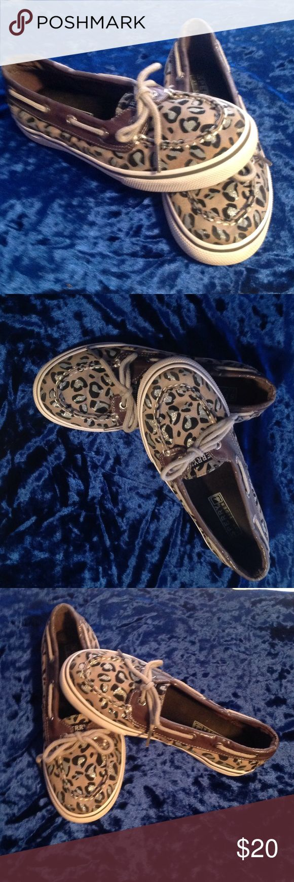 Girls Leopard SPERRYS These are in like new condition. With silver glitter leopard spots 😍 Sperry Top-Sider Shoes