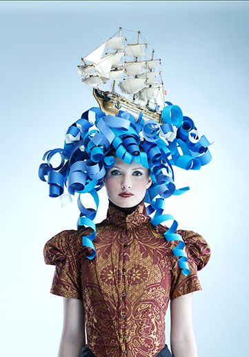 halloween headdress: Paper wig by Bonnie Holland photography.