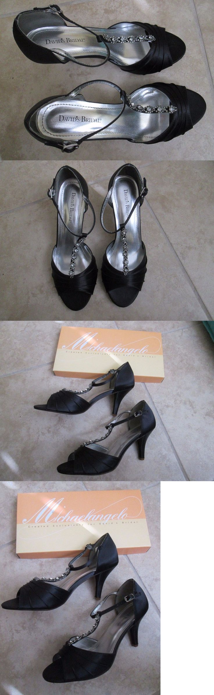 Wedding Shoes And Bridal Shoes: Davids Bridal Tia Dyed Black Prom Bridesmaid Shoes 9.5 Open Toe 3.5 High Heel BUY IT NOW ONLY: $39.99