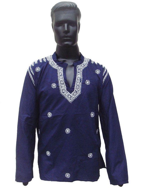 Mens Tunic Blue Shirt for Spring Sale Hand by KurtiTunicbyBhagya