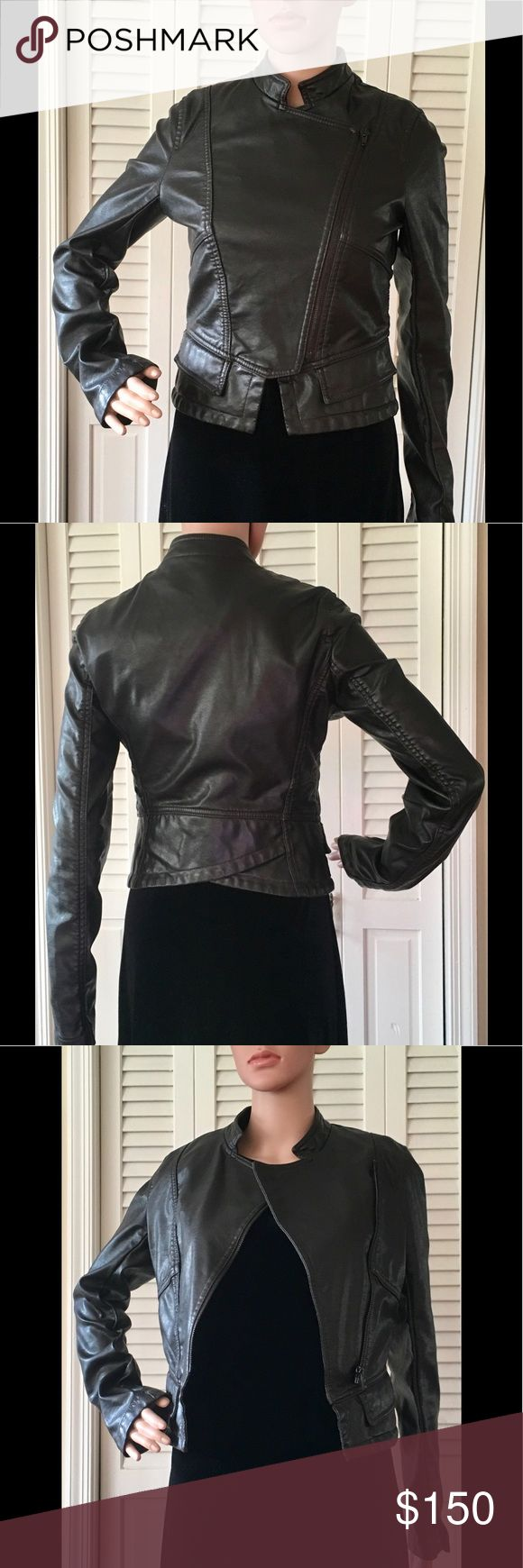 FRENCH CONNECTION🌺Fabulous Vegan Leather Jacket! So Adorable!! Unique Details! LIKE NEW! French Connection Jackets & Coats