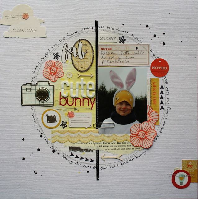 Sara Kronqvist - Saras pysselblogg: Cute bunny   Scrapbook layout with lots of bits and pieces, using up my scrap stash
