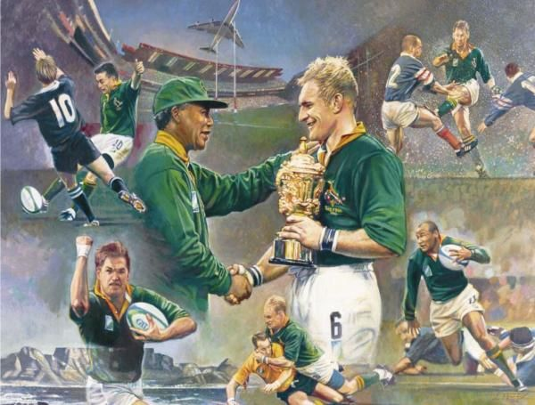 Framed - South Africa's 1st World Cup win (Madiba magic) Art by Wouter Du Preez