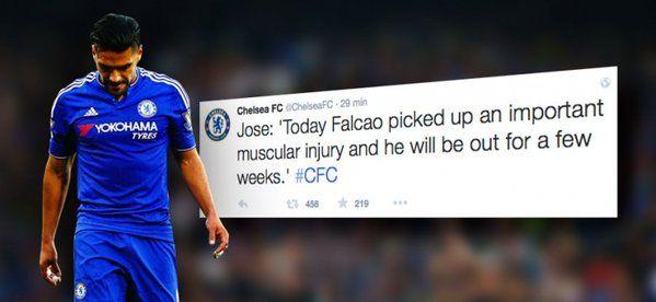 """Falcao García se lesionó y es duda para Eliminatorias con Selección Colombia, así lo infirmó Chelsea F.C. Falcao """" sufrió una lesión importante. No tan grave como otras que tuvo, pero sí es una lesión muscular importante """", anunció este martes José Mourinho..."""