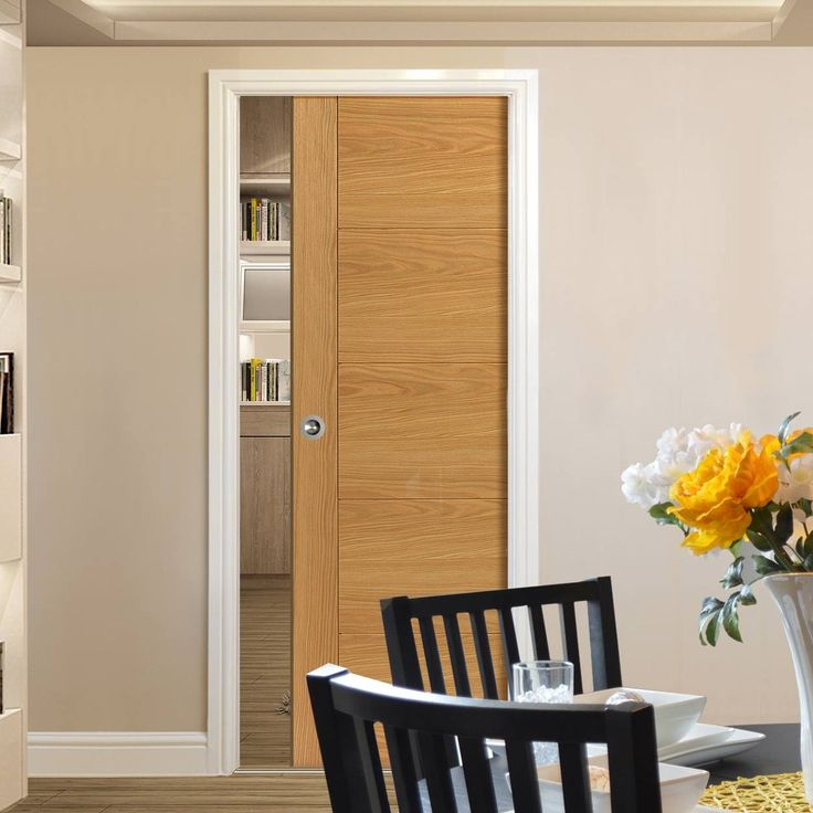 Single Pocket River Oak Modern Tigris sliding door system in three size widths.  #pakslidingdoor #oakpocketdoor #pocketdoor