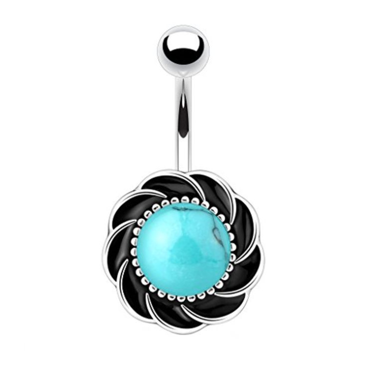 Turquoise Natural Stone Belly Button Ring Flower