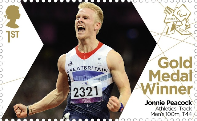 Paralympics Gold Medal Winner stamp - Athletics: Track Men's 100m, T44, Jonnie Peacock.