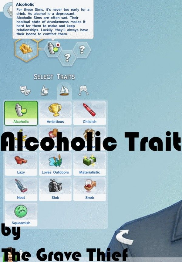 Mod The Sims: Alcoholic Trait by TheGraveThief • Sims 4 Downloads