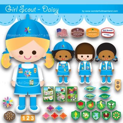 Printable Clipart Clip Art Digital PDF PNG File - Girl Scout Girl Patch Pin Badge Award 4 from Wonderful Dreamland on TeachersNotebook.com