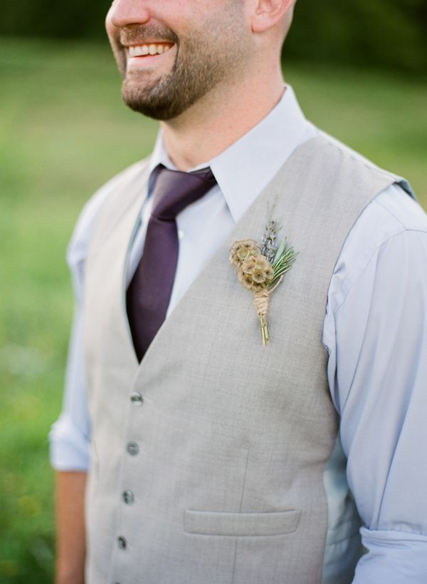 groom and grey vest // photo by Hunter Photographic // http://ruffledblog.com/lavender-farm-elopement-shoot