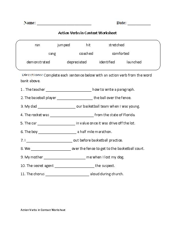 action verbs in context worksheet great english tools pinterest action verbs action and. Black Bedroom Furniture Sets. Home Design Ideas