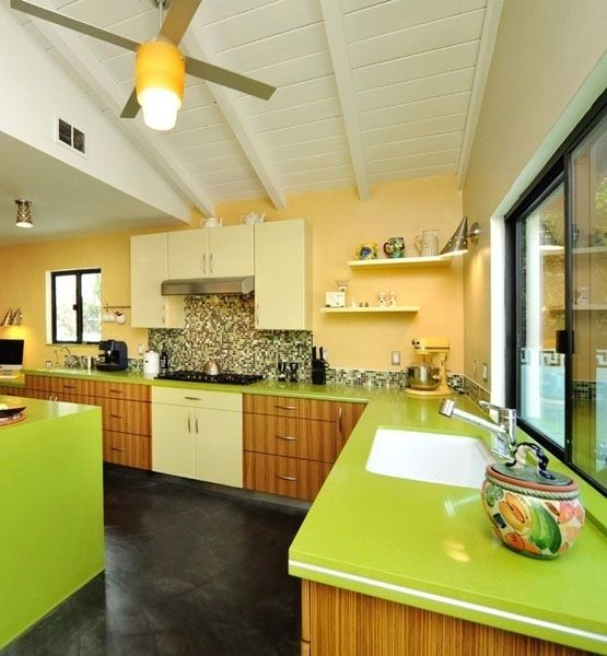 colorful kitchen...Kitchens Design, Cabinets Colors, Contemporary Kitchens, Mid Century, Kitchens Lights, Green Kitchens, Colors Kitchens, Green Countertops, Summer Colors