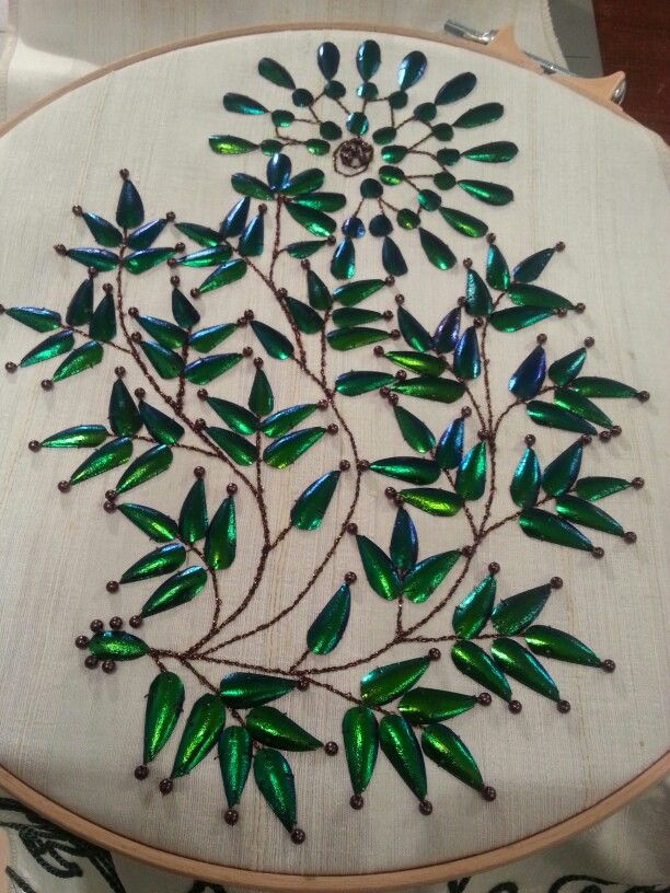 Victorian beetle wing embroidery by Angela Mombers