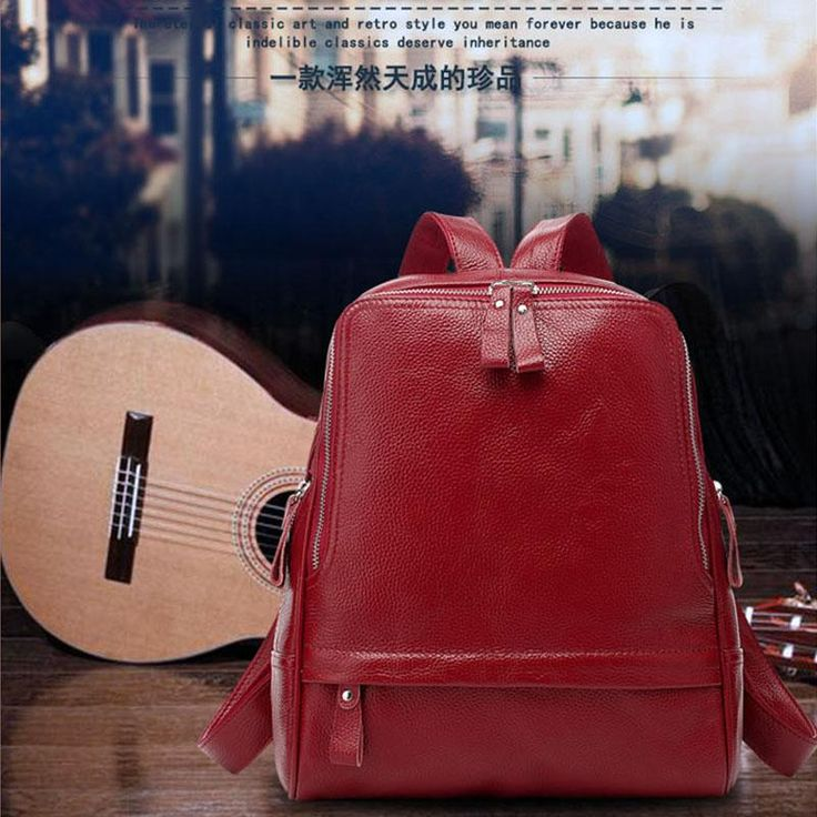 Middle Volume Burgundy Fashional Preppy Style Real Calfskin Backpacks for Ladies(Free Shipping)