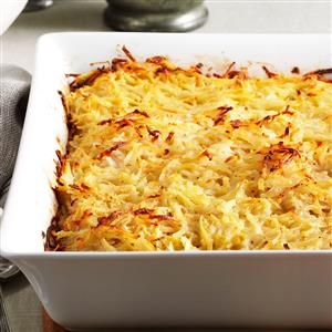 Potato Kugel Recipe -The secret to keeping your potatoes their whitest is to switch back and forth when grating the potatoes and onion in your food processor or box grater. —Ellen Ruzinsky, Yorktown Heights, New York
