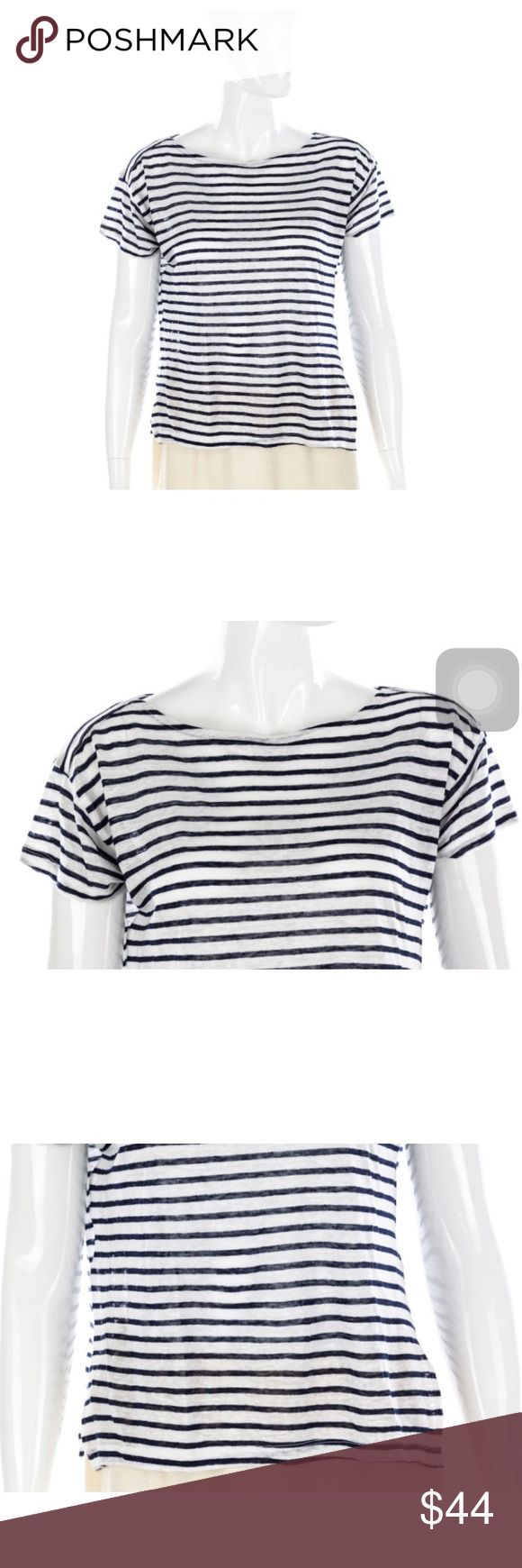 """Band of Outsiders White Navy Striped T-shirt Top Band of Outsiders White Navy Striped T-shirt Top - Size 0 Size 0 Linen (stretch) Love text print  Boat neck  Short sleeves Semi sheer  Striped print Vents at sides Boxy crop style  Condition: No flaws. (Second hand item-has been worn by previous owner).  Measurements  Length: 21.5"""" Chest: 40"""" Waist: 40""""                                100% Authenticity Guarantee Brand Of Outsiders Tops"""