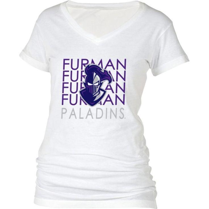 boxercraft Women's Furman Paladins Perfect Fit V-Neck White T-Shirt, Size: Medium, Multi