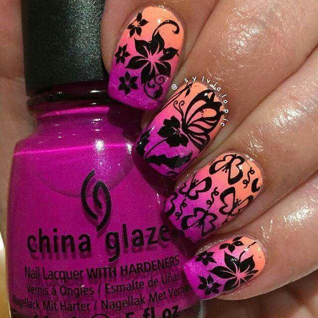 "Sylvia's Nails on Instagram: Polishes used: (Gradient) @chinaglaze ""Beach Cruise-r,"" ""Pink Voltage"" & ""Flip Flop Fantasy"" - stamped using @mundodeunas Black - @bornpretty plate BP-34 #NailArt #bornpretty #mundodeuñas #chinaglaze"