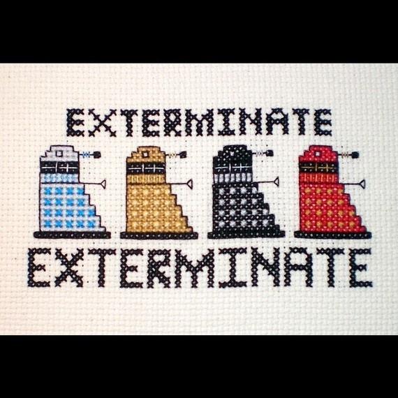 Dalek Rainbow  Doctor Who Inspired Crossstitch by elfstitch, $7.50