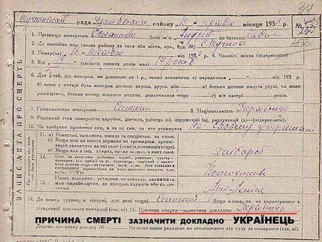 Причина смерти - зазначити долкладно: Українець. Моторошна описка в акті про смерть Андрія Остапенка 1933 р. #геноцид1933