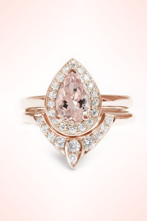 Pear Shaped Morganite Engagement Ring and diamond wedding rose gold set ~ LOVE !! xoxo Silly Shiny