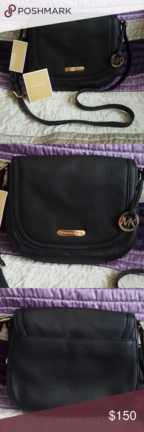 """NWT Michael Kors Black Blakeley Crossbody Purse NWT Michael Kors Large Black Blakeley Crossbody Messenger Purse. Brand new with tags. Black leather with gold hardware. Exterior has a back snap closure slip pocket. Bag interior has 2 slip pockets and a zippered pocket. Adjustable shoulder strap with a snap closure. Has a hanging MK purse charm. DIMENSIONS: 10.5"""" L x 2.7"""" W x 9.5"""" H, strap drop 20"""" - 22"""". Michael Kors Bags Crossbody Bags"""