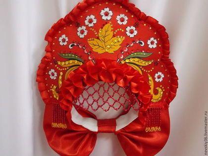 КОКОШНИК ХОХЛОМА - ярко-красный,кокошник,русский стиль,русская традиция