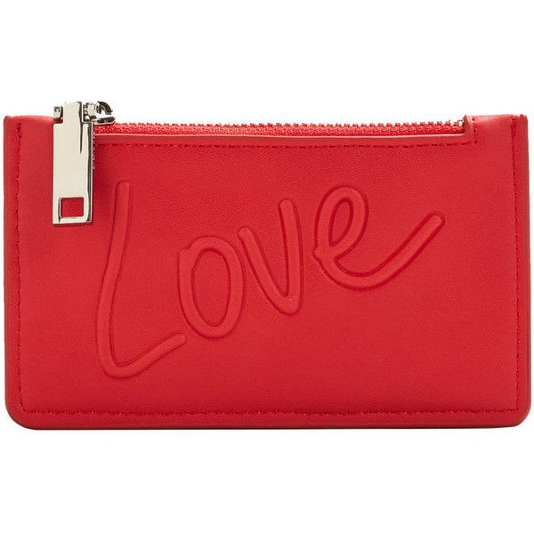 MANGO Message cardholder ($9.99) ❤ liked on Polyvore featuring bags, wallets, red, zipper bag, zipper wallet, lining bag, red wallet and mango bags