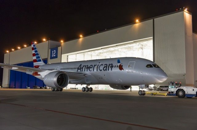 American Airlines' first Boeing 787-8 being towed at Paine Field - Photo: American Airlines