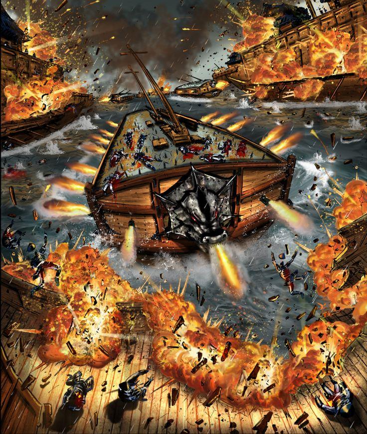 Admiral Yi Sun-Shin's Korean Turtle Ships charging into the invading Japanese fleet