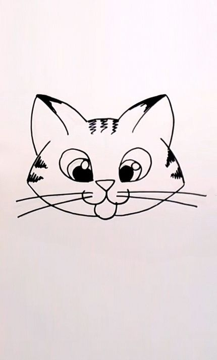 Drawing a Cartoon Tabby Cat Face