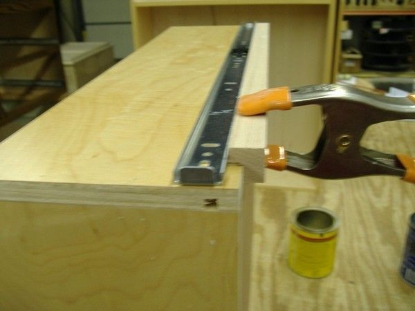Drawer Slide Jig by stwoodie -- Homemade wooden jig intended to facilitate the process of mounting drawer slides. http://www.homemadetools.net/homemade-drawer-slide-jig