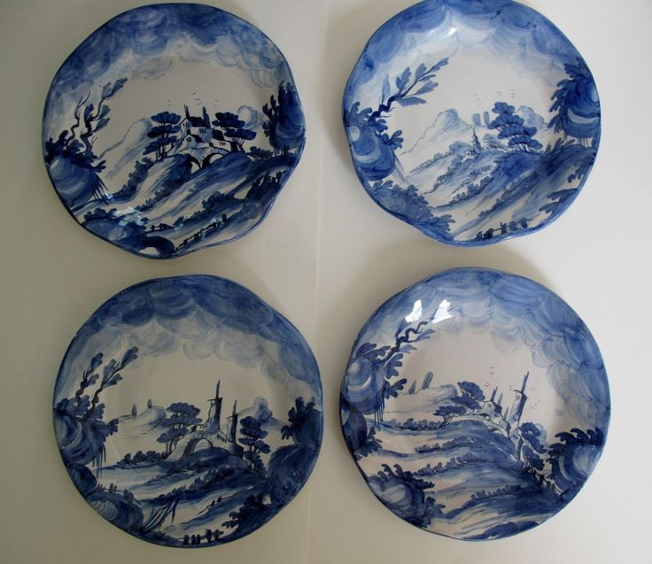 Vintage Zaccagnini Dishes Set Albisola Blue Majolica Handpainted and Signed | eBay