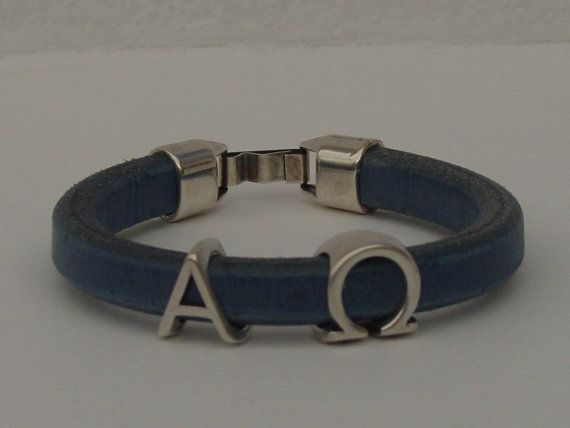 Alpha Omega Greek Leather Bracelet Men Silver Tone by LindosArt