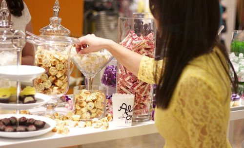 A candy bar (like a salad bar but with candy) for a sweet store event.