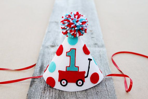 Little boys lover their little red wagons…so just imagine your little boy on his special day sitting with this super cute party hat on his head and
