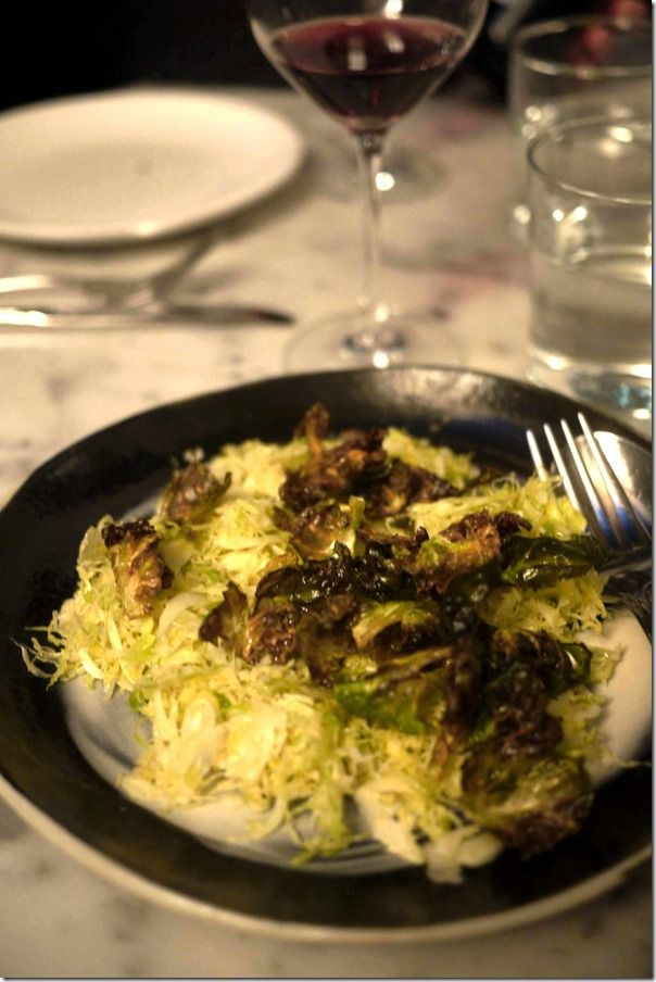 Brussels sprouts like you've never seen them before ~ a third of their outer leaves are deep-fried, then garnished with parmesan over thinly shaved raw hearts. According to chef O Tama Carey of Berta in Sydney, even hardcore sprout naysayers are being converted.
