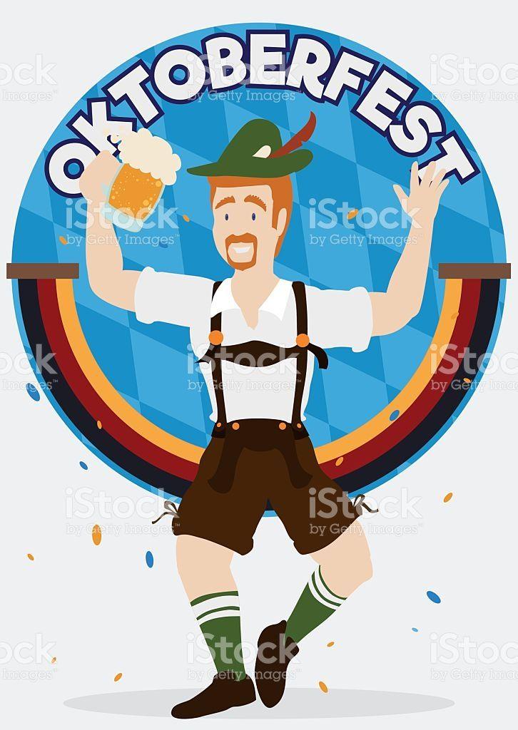 Happy Bavarian Celebrating the Oktoberfest with Confetti