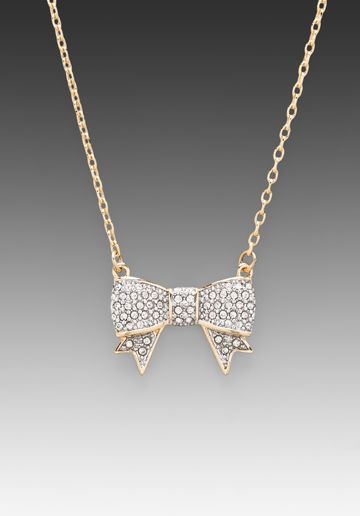 Juicy Couture Pave Bow Wish Necklace//