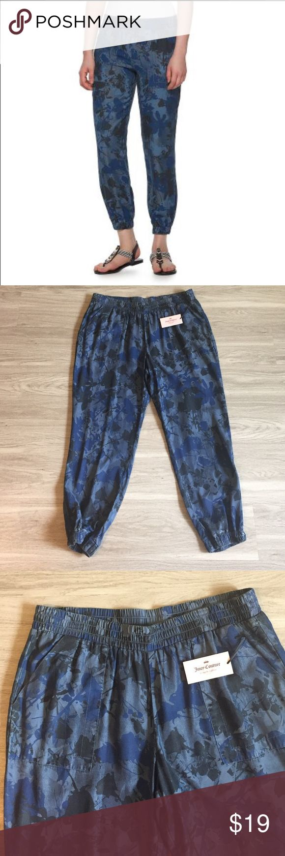 Women's Juicy Couture Camo XL Jogger Pants Womens Juicy Couture jogger pants. The floral camo print adds rugged flair to your chic look. In blue. 2-pork chop pockets 2-faux pockets Soft Tencel construction 29-in. inseam Juicy Couture Pants Track Pants & Joggers