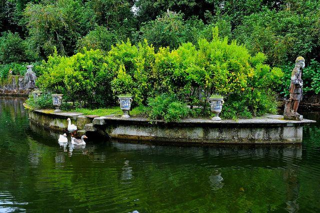 Spain, Galicia, Pazo de Oca, Boat garden
