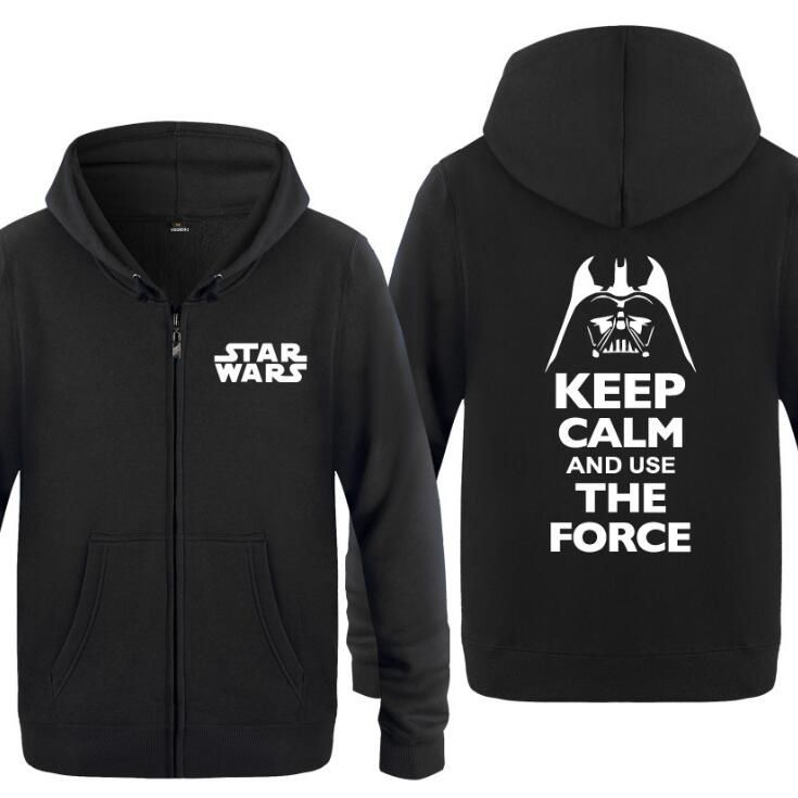 Spring  Autumn Movie Star Wars Darth Vader Keep Calm And Use The Force Clothing Casual Sweatshirts Hoodies Unisex Jacket Coat